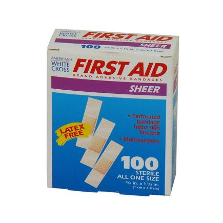 First Aid brand Small Sheer Strip Adhesive Bandages 100/box - front view