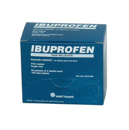 Generic Ibuprofen tablets in a 50 packet box - front view