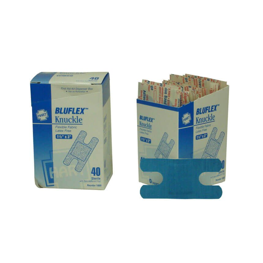 BluFlex woven elastic blue knuckle bandages 40/box - display view