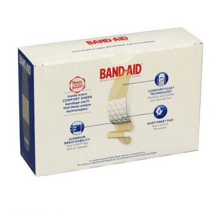 "Band-Aid brand Sheer Strip Bandages 100/box 3/4"" x 3"" - rear view"