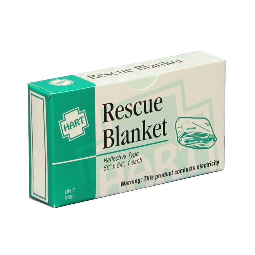 Mylar Rescue Survival Blanket in unit box - Front View