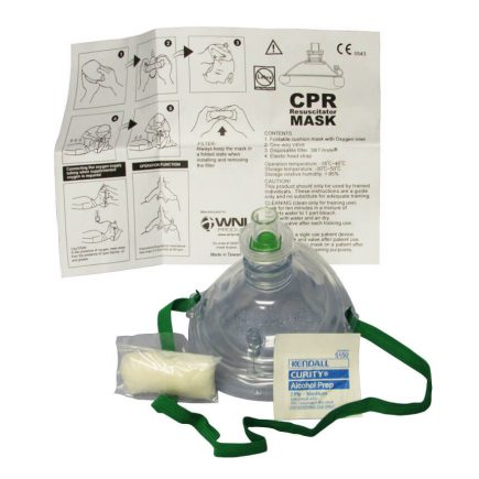 Adult/Child  CPR Resuscitator Mask with soft case - expanded view