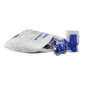 Open bag of CPR training valves for individual packaging view.