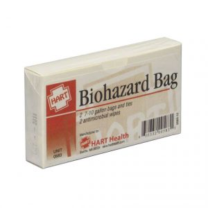 Unit box of  two Biohazard bags and antimicrobial wipes - front view of package.